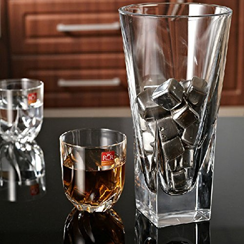 Xcellent Global 6 Pack Stainless Steel Shell Whiskey Chilling Reusable Ice Cubes for Whiskey Wine, Chilling Your Drink without Diluting - Perfect as New Years, Christmas, Valentine's Day, Wedding, Father's Day, Birthday Gift M-HG067