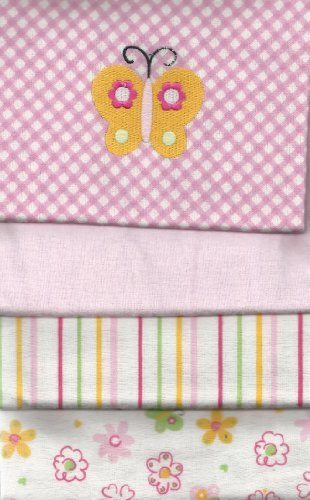 Carter's 4 Flannel Blanket Set For Baby Girl Pink Blankets embroidered Butterfly - 1