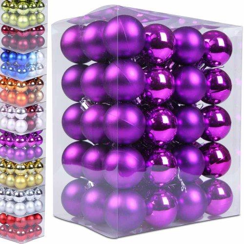 60-Weihnachtskugeln-Box-Christbaumschmuck-aus-Kunststoff-matt-glnzend-Farb-und-Grenwahl