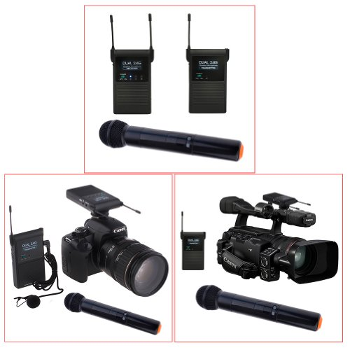 Neewer® Dual Channel Camera Mount 2.4Ghz Wireless Clip-On Lavalier Stereo Dslr Microphone System With 1 Transmitter, 1 Receiver And 1 Handled Microphone Set For 7D, 60D, 600D/Rebel T3I, Nikon D5100, D7000