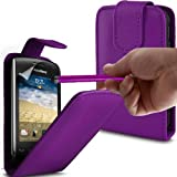 Blackberry Curve 9380 Dark Purple Top Flip Premium PU Leather Case with Touch Screen Stylus Pen, Screen Protector And Polishing Cloth