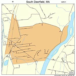 Large Street & Road Map of South Deerfield, Massachusetts MA - Printed poster size wall atlas of your home
