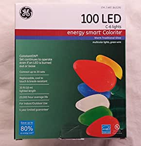 Amazon.com: GE Energy Smart 100 LED C-6 Holiday/Christmas Lights - 33ft String (Indoor/Outdoor ...