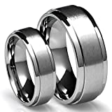 His & Hers 8MM/6MM Titanium Brushed Finish Wedding Band Ring Set (Available Sizes 4-16 Including Half Sizes)