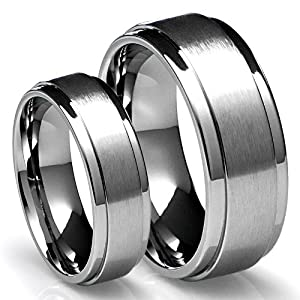 His & Her's 8MM/6MM Titanium Brushed Finish Wedding Band Ring Set (Available Sizes 4-16 Including Half Sizes)
