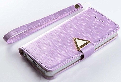 Mylife Lavender Purple {Colorful Pixel Print Design} Textured Koskin Faux Leather (Card And Id Holder + Magnetic Detachable Closing) Slim Wallet For Iphone 5/5S (5G) 5Th Generation Smartphone By Apple (External Rugged Synthetic Leather With Magnetic Clip