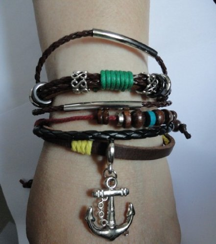 Retro Anchor Pendant Leather Multi-layered Bracelet