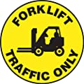 "Accuform Signs MFS860 Slip-Gard Adhesive Vinyl Round Floor Sign, Legend ""FORKLIFT TRAFFIC ONLY"" with Graphic, 8"" Diameter, Black on Yellow"