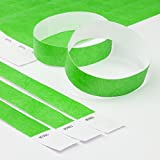 "Neon Green 3/4"" Tyvek Wristbands - 500 Pack Paper Wristbands for Events by Elan"