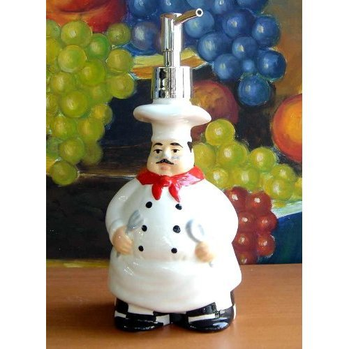 Italian Bistro Fat Chef Soap Dispenser/lotion Jar Ceramic