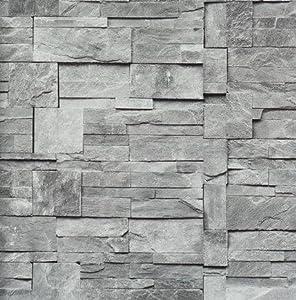 bn yours essentially stein optik mauer vlies tapete grau 47511 baumarkt. Black Bedroom Furniture Sets. Home Design Ideas
