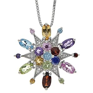 Sterling Silver Multi-Color Gemstone and Diamond Snowflake Pendant, 18""
