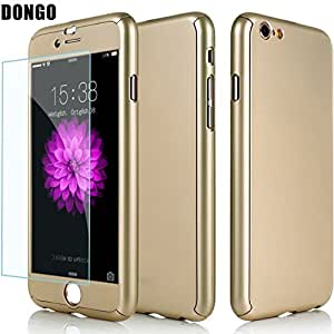 Aart New Style ultra thin 360 Degree full protection + Tempered Glass For Apple 5.5 Inch for I Phone 6 Plus/6S Plus- Gold
