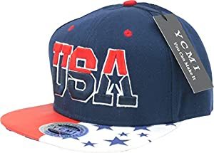 Cool Kings ® Hip Pop Collection Edition Letter USA Dark Blue Snapback Cap Hat for Men Baseball Cap