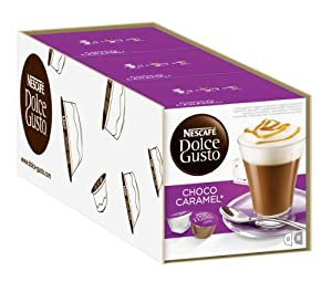 Choose Nescafé Dolce Gusto Choco Caramel, Cocoa with Caramel, Pack of 3, 3 x 16 Capsules (8 Servings) by Nescafé