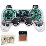 Saloke Wireless Gaming Controller for Ps2 Double Shock (Clear White)
