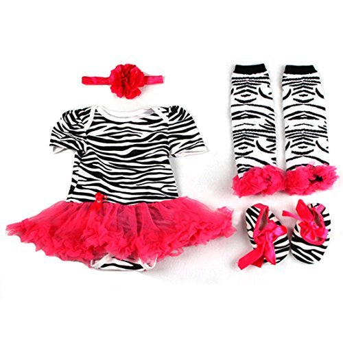 4pcs Newborn Infant Baby Girl's Headband +Romper +Leg Warmer +Shoes Outfit (L)