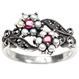 Gemini Silver Natural Seed Pearl Ring, Ruby (Size 7) - Dahlia Vintage Collection