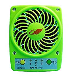 Niceshop Mini Table Desk Personal Fan Portable GT825 7 Leaves 3 ranges Mini USB 18650 Lithium Battery Rechargeable Handheld Fan (Green)