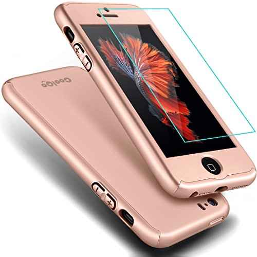 iPhone 5S Case,iPhone 5 Case, COOLQO® Full Body Coverage Ultra-thin Hard Hybrid Plastic with [Slim Tempered Glass Screen Protector] Protective Case Cover & Skin for Apple iPhone 5S/5 (Rose Gold) (Protective Iphone 5s Glass compare prices)