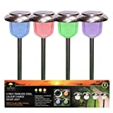 Garden kraft 14430 Benross Stainless Steel Colour Changing Solar Marker Lights (Set of 4)