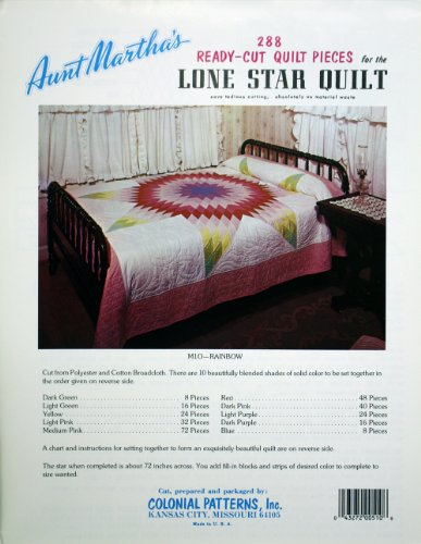 Aunt Martha's Vintage Lone Star Precut Quilt Kit, Rainbow Colors