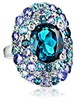 Kenneth Jay Lane Fine Jewelry Sterling Silver, Tanzanite, Blue and White Topaz Oval Ring, Size 7 from Kenneth Jay Lane Fine Jewelry