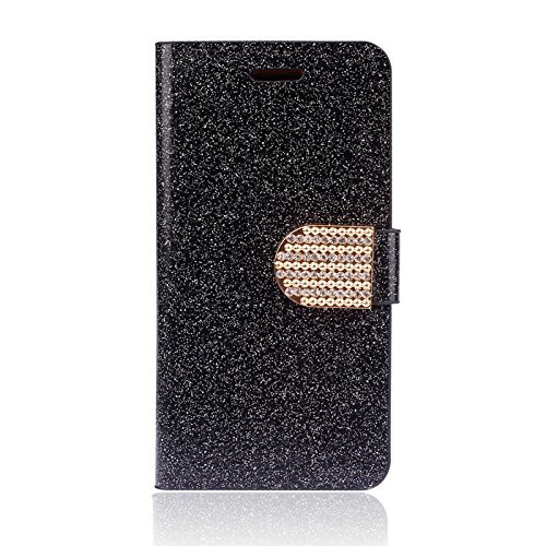 Iphone 6 Case, Doopoo (Tm) Luxury Bling Glitter Fashion Diamond Crystal Rhinestone Flip Leather Wallet Case For Smart Mobile Phones (Iphone 6, Black2)