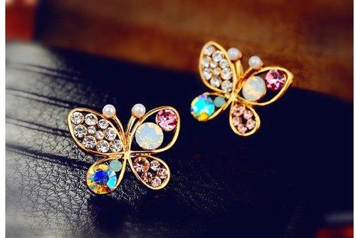 Fashion Multicolour Rhinestone Butterfly Retro Ear Studs Earrings 1 Pair