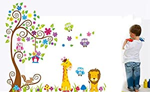 Muke® Árbol colorido de la flor pegatinas de pared piso búho del bebé, pegatinas adorables vivero pared removible / pegatinas de pared / decoración de la pared - BebeHogar.com