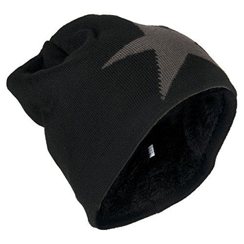 Beanie Mütze mit Stern und warmen Innenfutter, Unisex ( No:206)