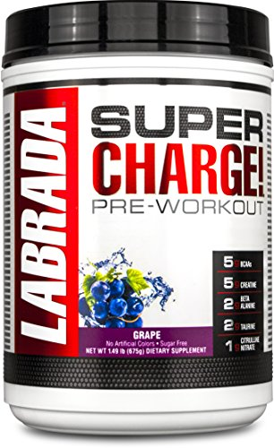 LABRADA NUTRITION Super Charge Pre Workout, Nitric Oxide Boosting Performance Enhancer with BCAAs, Creatine Monohydrate and 8 More Clinically Dosed Ingredients, Grape, 675 Gram (Preworkout Grape compare prices)