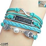 Infinity Silver Life Tree Best Friend Love Heart Black Rope Leather Bracelet for Women Men Gift