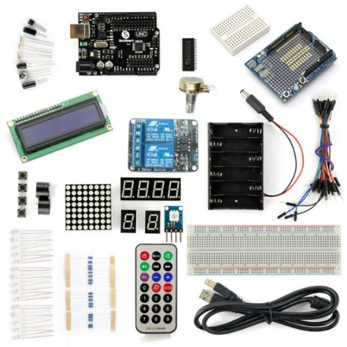 Sainsmart Uno R3 Starter Kit With 18 Basic Arduino Tutorial Projects For Beginners (1602 Lcd & Prototype Shield & 2-Channel 5V Relay Included)