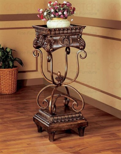 Dark Oak and Gold Finish Large Plant Stand