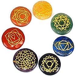 Reiki Chakra Stones, Set of 7 Chakra Stones with Engraved Chakra Symbols