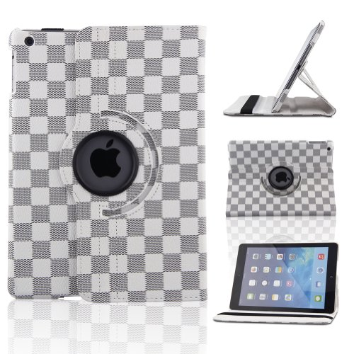 Creeracity New Lv Grid Pattern Auto Sleep/Wake Function 360 Degree Rotating Smart Case Cover For Ipad Air 2 Gen Generation - (Supports Auto Wake/Sleep Function) With Free Stylus -White