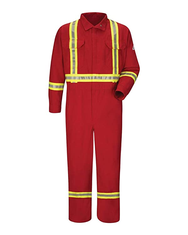 Bulwark FR Men's CNBC Flame Resistant Premium Coverall with CSA Compliant Reflective Trim (50 Regular, Red) (Color: Red, Tamaño: 50 Regular)