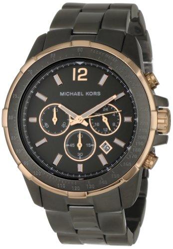 Michael Kors Men's MK8173 Black Stainless-Steel Quartz Watch with Silver Dial