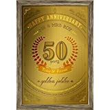 ArtzFolio 50 Years Golden Jubilee Anniversary - MEDIUM Size 16inch X 23inch (40.6cms X 58.4cms) Including 1 Inch Wide Frame - CANVAS TYPOGRAPHY ART PHOTO COLLAGE With ANTIQUE GOLD COLOUR NATURAL WOOD FRAME: Decorative & Designer Personalised & Cus