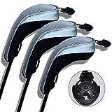 Andux ゴルフ ハイブリッド クラブヘッドカバー 交換可能な番号タグ付き 3個セット (ブラック/グレー)