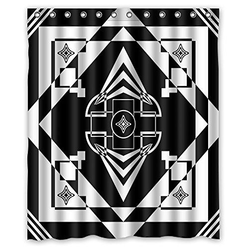 Baodan Zhang Custom Art Deco Black and White Mildew-Resistant Antibacterial Waterproof Shower Curtain 60