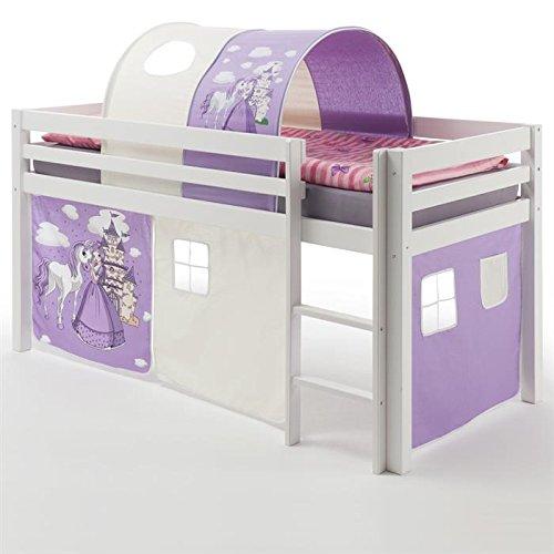 Hochbett Spielbett Bett Kinderbett MAX massives Kiefernholz weiß lackiert Vorhang und Tunnel mit Prinzessinmotiv 90 x 200 cm (B x L) bestellen