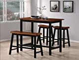 Black and Oak Counter Height Pub Set with Picture