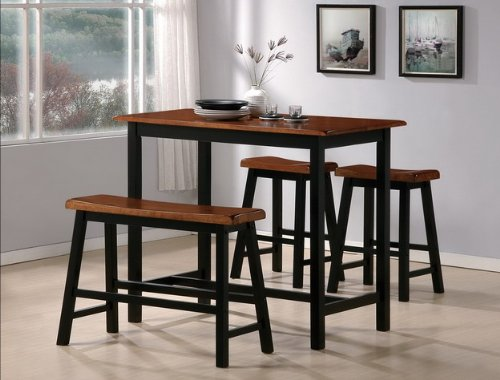 ... PC Breakfast Nook Kitchen Counter Height Dining Table Bench Stools Set