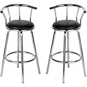 Set Of 2 Black Revolving Bar Stool Kitchen Breakfast Stools       Customer reviews and more information