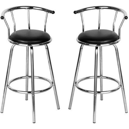 Set Of 2 Black Revolving Bar Stool Kitchen Breakfast Stools