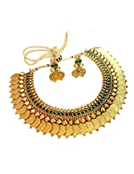 YouBella Traditional Green Emerald Temple Coin Necklace Set For Women