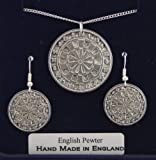 Dartboard Necklace and Earrings Set in Fine English Pewter, Gift Boxed (darts)