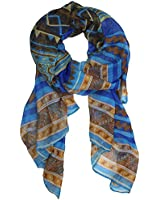 Kobwa(TM) Vintage Tribal Lucky Pattern Soft Chiffon Scarf With Kobwa's Keyring